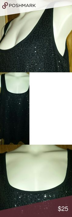 Sequined plus size evening wear tank top Old Navy 3X black-on-black sleeveless blouse. Generous scoop neck, runs true to size. Sequins on front only. In excellent condition. Old Navy Tops Tank Tops