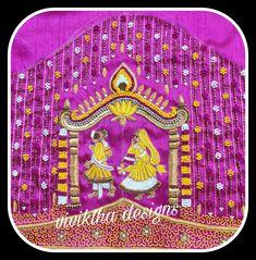 Bridal blouse # bride and bridegroom # knot work blouse # heavy bridal blouses # lotus designs Lotus Design, Work Blouse, Blouse Designs, Bride Groom, Knot, Symbols, Blouses, Bridal, Knots