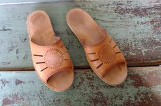 flat leather slip on shoes, leather slippers, tan sandals, slides, beach shoes by vintage2049 on Etsy