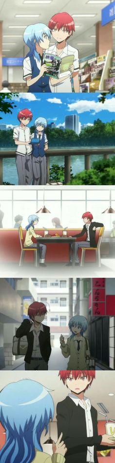 karma and nagisa went on a date, change my mind. Anime Meme, Anime Guys, Manga Anime, Karma Kun, Nagisa And Karma, Tsurezure Children, Koro Sensei, Nagisa Shiota, Anime Ships