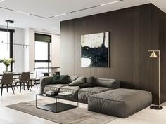 Living Room Designs Wood - Nice Interior Design Around Walnut Wood Finishes Ideas. Dark Living Rooms, Living Spaces, Modern Living, Contemporary Interior Design, Modern Interior Design, Contemporary Apartment, Interior Architecture, Futuristisches Design, White Floor Lamp