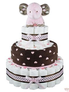 Cute And Cuddly Pink Brown Elephant Diaper Cake 3 Tier more at Recipins.com