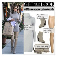 """Celeb Style: Alessandra Ambrosio"" by zhris ❤ liked on Polyvore featuring Ralph Lauren Black Label, rag & bone, Wolford, women's clothing, women, female, woman, misses and juniors"
