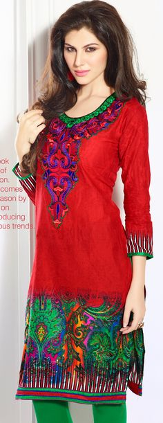 Cotton Cambric Red and Green Embroidered Kurti