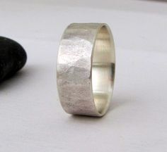 Rough Hammered Mens Wedding Band Hammered Silver by SilverSmack