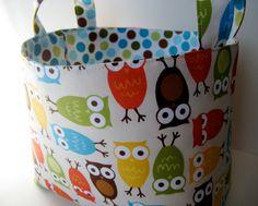 Fabric Storage Basket Bin  Urban Zoologie Owls Cream by YKBags