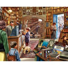 A good idea for distraction is get a picture/photo/jigsaws and choose a letter of the Alphabet and see how many things you can see with that letter.(Old Book Store - 1000 Piece Jigsaw Puzzle by White Mountain Puzzles) Norman Rockwell, 300 Piece Puzzles, Wooden Jigsaw Puzzles, Grafiti, Hidden Treasures, Old Books, Book Art, Old Things, Illustrations