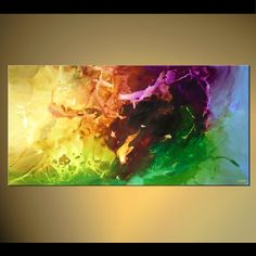 Original abstract art paintings by Osnat - colorful abstract in yellow green and brown