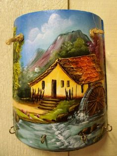 - Painted Slate, Painted Rocks, Hand Painted, Bottle Painting, Bottle Art, Painted Milk Cans, Old Milk Cans, Artist Painting, Painting On Wood