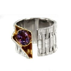 Sterling Silver and Vermeil Oval Amethyst Weave Ring by Marija $265.00 #jewelry