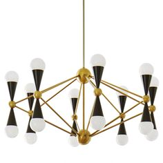 Kinetic Modernism.Simple geometric shapess—cones and spheres—collide with dynamic results. Ideal scale for a dining room or a spacious foyer, the architectural Caracas 16-Light Chandelier will wow your world.Antiqued brass and glossy white or black lacquer create a chic and classique contrast. The black has a hint Mid-Century Mod while the white finish feels Italian Art Deco. It's the perfect piece to update your 16th century palazzo or to add a touch of French '50s style to your trad...