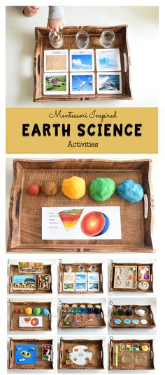 Earth Science for kids science kidsactivities activitytrays montessori earthday Science Montessori, Earth Science Activities, Montessori Homeschool, Montessori Classroom, Science Curriculum, Preschool Science, Science For Kids, Montessori Toddler, Montessori Bedroom