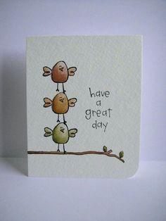 Purple Onion Designs and Donna Mikasa (three umbrellas). 3 little birds! Fingerprint Art, Art Carte, Karten Diy, Ideias Diy, Bird Cards, Watercolor Cards, Watercolour, Cute Cards, Homemade Cards