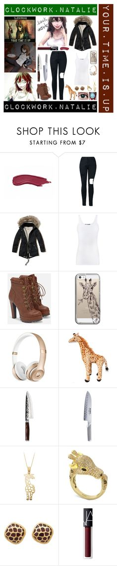 """""""Clockwork"""" by laughingjacksdaughter ❤ liked on Polyvore featuring Hollister Co., Vince, JustFab, Casetify, Shun, Global, Effy Jewelry, NARS Cosmetics, creepypasta and clockwork"""