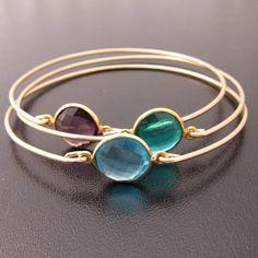 Set of 3 Gemstone Bracelets Purple Amethyst by FrostedWillow