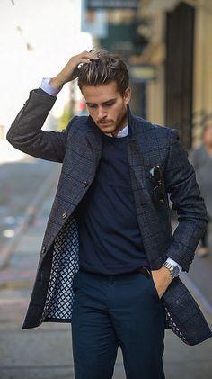 men's gray & navy windowpane checked coat