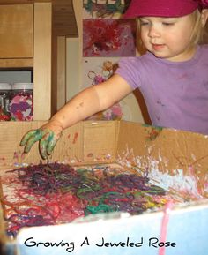 Growing A Jeweled Rose: Messy Fun with Rainbow Colored Pasta