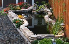slightly elevated, stone lined water feature