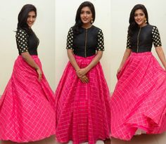 Sreemukhi in a long skirt and crop top photo | Dis s inn ...