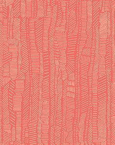 Overview A mix of structure and character, a practiced balance of expressive mark-making and thoughtful composition. Linear Field is versatile and modern drawn in bright cream over coral pink. POPPY o
