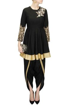 e0ee36aa15 Black embroidered flared kurta with black dhoti pants available only at  Pernia s Pop-Up Shop