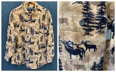 80s Woolrich Shirt ELK Shirt All Cotton Stag Nature | Etsy Faux Fur Collar, Fur Collars, Vintage Shirts, Vintage Outfits, Elk, Flannel Shirt, Reusable Tote Bags, Beige, Black And White