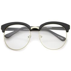 Oversized Flat Clear Lens Half Frame Semi-Rimless Round Glasses 58mm ff90a96d23