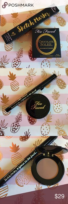 """💕 Too Faced Bronzer & Liner Duo 💕 💋Too Faced Medium/Deep Matte Bronzer (Travel Size - 08 oz.) 💋 Too Faced Sketch Marker Black Liquid Liner (full size - .015 oz.) 💋 (New, authentic, untouched, and original packaging - no """"tags"""") 💋 the stock photo is just to give a better shot of the color. Too Faced Makeup"""