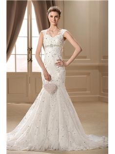 Brisbane Charming Trumpet/Mermaid Straps Sleeveless Appliques Wedding Dress(489)