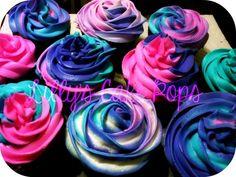 pink and aqua cake   Cupcakes, pink purple & turquoise