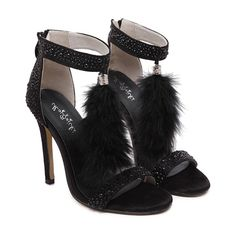 Faux Fur Rhinestone Stiletto Heel Sandals ($33) ❤ liked on Polyvore featuring shoes, sandals, stiletto sandals, stiletto high heel shoes, rhinestone stilettos, high heel stilettos and faux fur shoes