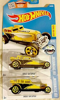 Great-Gatspeed-116-Yellow-Hot-Wheels-2016-Hot-Wheels-for-sale-Lot-of-2-cars