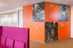 Pentagram's Michael Gericke and his team have designed a bold program of large-scale environmental graphics for the new US headquarters of GlaxoSmithKline