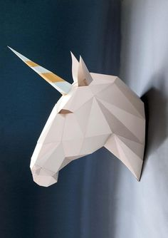 Unicorn papercraft KIT. Unicorn wall sculpture by SmagaPaperwood
