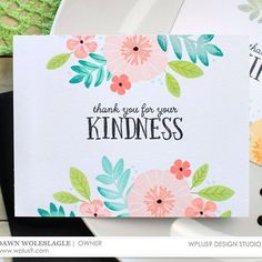 Easy one layer card sets on the #wplus9 blog today featuring the Feathers & Florals and Bold Banner Greetings stamp sets.