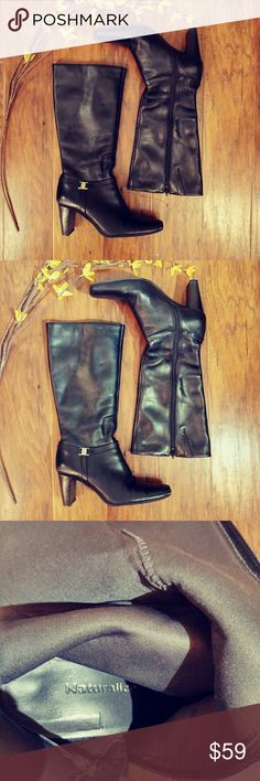 💠NATURALIZER HEELED BOOTS💠 Euc ,leather, 3 inch, thick heel zip sides super snazzy these are an 8 1/2 I feel they could fit an 8, or an 8 1/2  with a narrower foot. . Feel free to ask any questions bundle for better discount Naturalizer Shoes Heeled Boots
