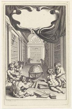 anoniem | Putti in een bibliotheek, workshop of Bernard Picart, 1712 | Putti in een bibliotheek bij een globe, omringd door boeken. Boven de voorstelling een leeg cartouche.