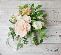 Boho Wedding Bouquet - Silk Wedding Bouquet, Peony Bouquet, Bridal Bouquet, Silk Bouquet, Pink, Peach, Cream, Greenery, Wedding Bouquet by blueorchidcreations on Etsy