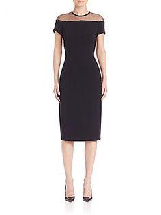 Escada Short Sleeve Illusion Neck Dress - Black