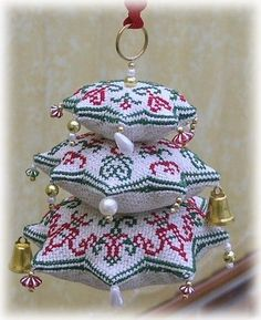 Christmas Biscornu Stack • 2/5 Made up as a hanging ornament