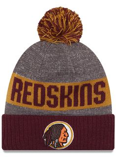 9a2d70ba299a2c Keep warm in #Redskins style with this burgundy and gold, knit winter hat.