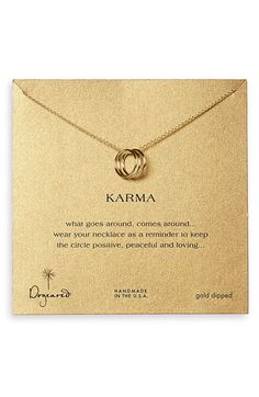 Free shipping and returns on Dogeared 'Karma' Boxed Charm Necklace at Nordstrom.com. Three silver rings represent a karmic loop, serving as a positive reminder on a delicate handcrafted necklace.