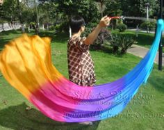 1 pair detachable  belly dance silk veil poi, turquoise-blue-purple-pink-orange, 2.3m x 0.9m 5mm silk fabric