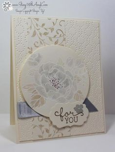 I used the Stampin' Up! Birthday Blooms stamp set to make a card focusing on the neutrals color palette.  My card design was inspired by The Paper Players #279.  And the colors for my card were inspir