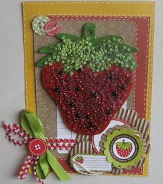 Beaded strawberry card Strawberry Crafts, Mini Chips, Strawberry Shortcake Party, Paper Craft Making, Scrapbook Embellishments, Handmade Crafts, Making Ideas, Paper Flowers, Projects To Try