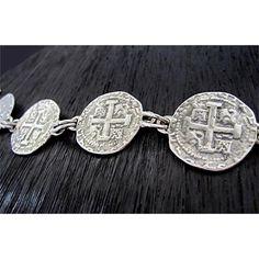 Spanish Coin Link Bracelet Coin Bracelet, Link Bracelets, Bracelet Making, Handmade Sterling Silver, Sterling Silver Bracelets, Santa Fe, Handmade Jewelry Bracelets, Coin Pendant, Argent Sterling