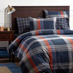 Walker Plaid Duvet Cover + Sham, Orange | PBteen