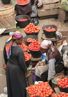 Beautiful shot of a local market in Kumasi, Ghana