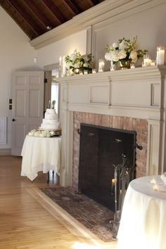Fireplace Mantle - Love the brick! So Colonial :)