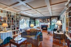 Another view of the library at #WinterwoodatPetersham, showing the fireplace and the distinctive beamed ceiling. #Bedandbreakfastforsale http://www.19northmainstreet.com